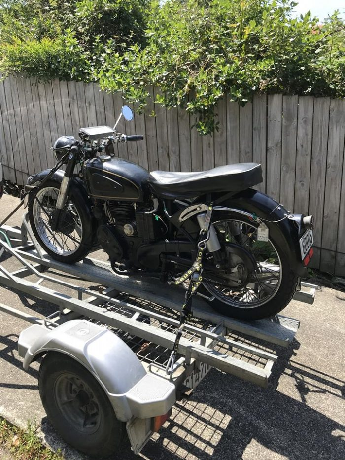 Riders Corner Trailer towing Velocette