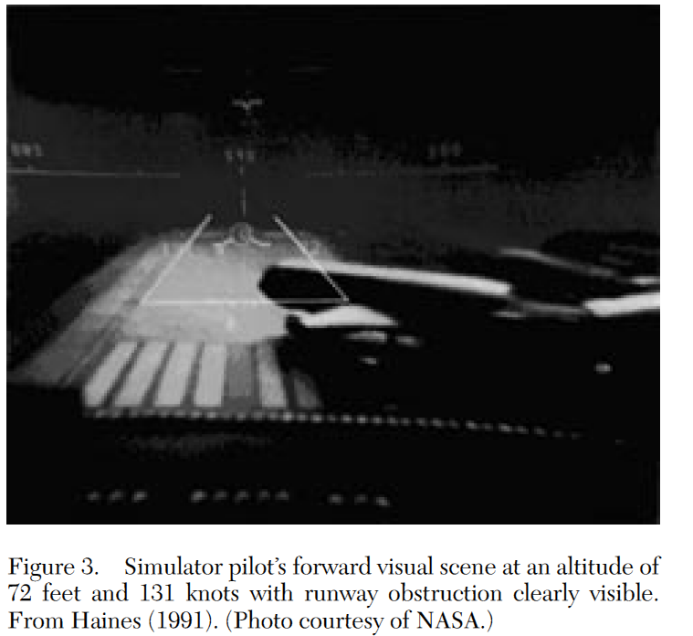 Simulator pilot's forward visual scene at an altitude of 72 feet and 131 knots with runway obstruction clearly visible. From Haines (1991). (Photo courtesy of NASA.)
